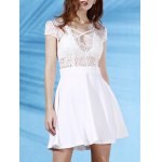 Stylish Plunging Neck Short Sleeve Lace Splice Backless Women's Dress