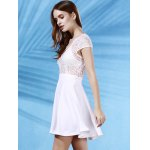 Stylish Plunging Neck Short Sleeve Lace Splice Backless Women's Dress deal