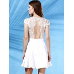 Stylish Plunging Neck Short Sleeve Lace Splice Backless Women's Dress for sale