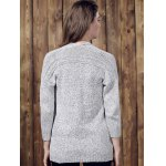 Chic Gray Collarless Long Sleeve Pocket Design Cardigan For Women for sale