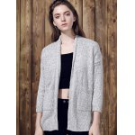 cheap Chic Gray Collarless Long Sleeve Pocket Design Cardigan For Women