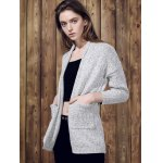 Chic Gray Collarless Long Sleeve Pocket Design Cardigan For Women deal