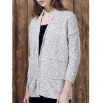 Chic Gray Collarless Long Sleeve Pocket Design Cardigan For Women 11027