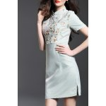Mandarin Collar Floral Embroidered Bodycon Dress for sale