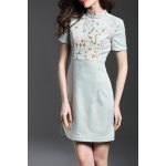 Mandarin Collar Floral Embroidered Bodycon Dress deal