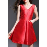 V-Neck Backless Bowknot Evening Dress