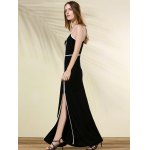 Contrasting Piped Long Prom Dress for sale