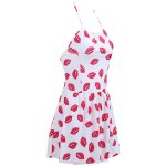 cheap Chic Halter Lip Print Zippered One-Piece Women's Swimwear