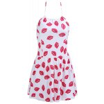 Chic Halter Lip Print Zippered One-Piece Women's Swimwear