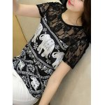Trendy Jewel Neck Short Sleeve Lace Panelled Print Blouse For Women deal