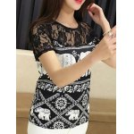 cheap Trendy Jewel Neck Short Sleeve Lace Panelled Print Blouse For Women