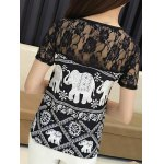 Trendy Jewel Neck Short Sleeve Lace Panelled Print Blouse For Women for sale