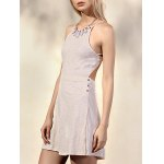 cheap Trendy Spaghetti Straps Sleeveless Backless Solid Color Women's Dress