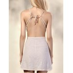 Trendy Spaghetti Straps Sleeveless Backless Solid Color Women's Dress for sale