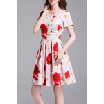 Floral Print Daisy Applique Dress deal