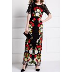 Flower Embroidered Bodycon Evening Dress deal
