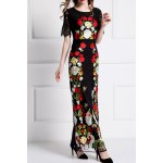 Flower Embroidered Bodycon Evening Dress for sale