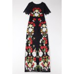 Flower Embroidered Bodycon Evening Dress photo