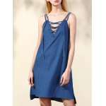Trendy Spaghetti Straps Lace Up Chambray Dress For Women for sale