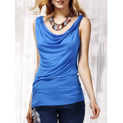 Stylish Women's Scoop Neck Sleeveless Pure Color Tank Top