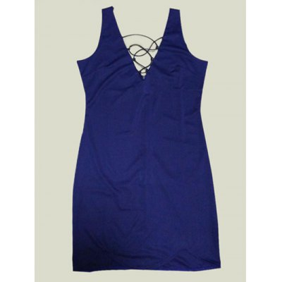 Plunging Neck Pure Color Sleeveless Dress