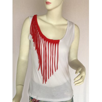Fringed Scoop Neck Tank Top