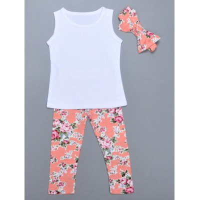 Sweet Floral Print Tank Top + Pants + Hairband Girl's Suit
