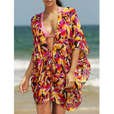 Plunging Neck Loose Print Cover Up