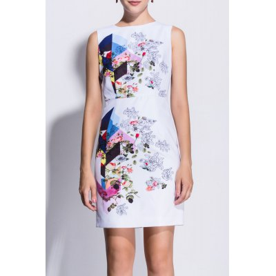 Rose Print Sleeveless Bodycon Dress