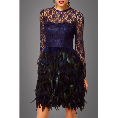 Lace Feather Prom Dress