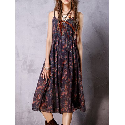 Stylish Cami Sleeveless Bohemian Print Women's Dress