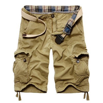Casual Loose Fit Solid Color Cargo Shorts For Men