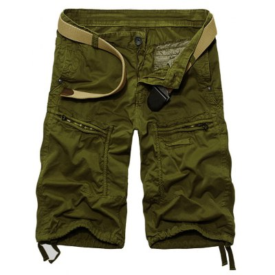 Solid Color Cargo Shorts