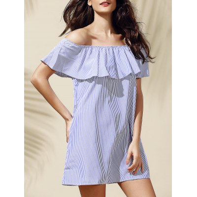 Casual Off-The-Shoulder Striped Flounce Women's Dress