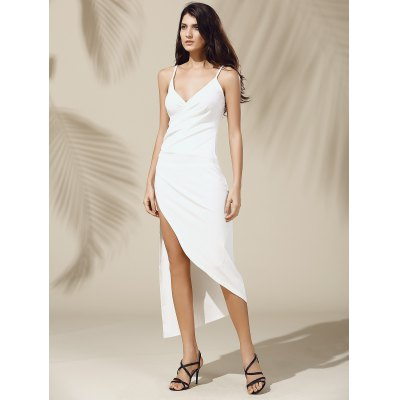Alluring Plunging Neck Asymmetric High Slit Solid Color Sleeveless Women's Dress