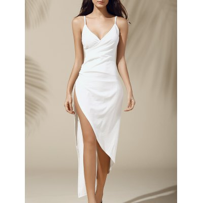 Plunging Neck Asymmetric High Slit Solid Color Sleeveless Women's Dress