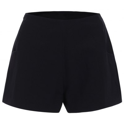 Simple Design Slimming Solid Color Shorts For Women