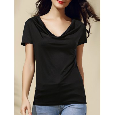 Cowl Neck Solid Color Short Sleeve Women's Tee