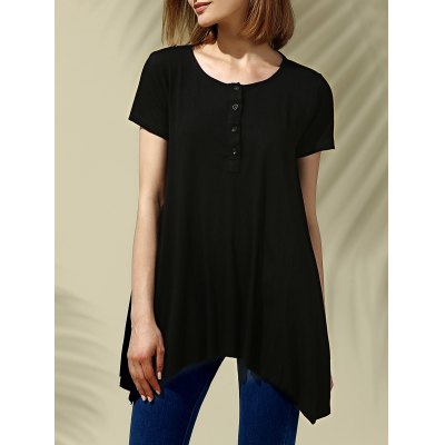 Scoop Neck Short Sleeve Pure Color High Low Women's T-Shirt