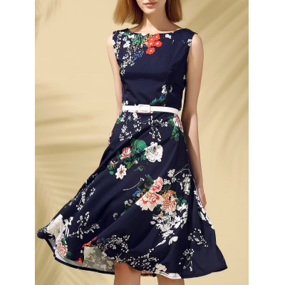 Round Neck Sleeveless Floral Print Slimming Women's Dress
