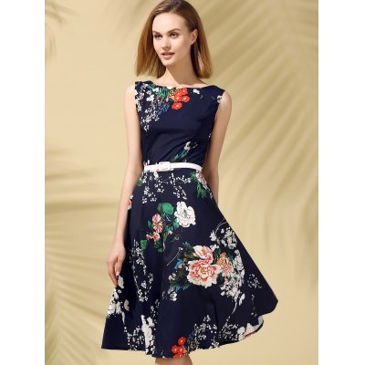 Floral Print Fit and Flare Midi DressSleeveless Dresses<br>Floral Print Fit and Flare Midi Dress<br><br>Dresses Length: Knee-Length<br>Material: Polyester<br>Neckline: Round Collar<br>Package Contents: 1 x Dress  1 x Belt<br>Pattern Type: Floral<br>Season: Summer<br>Silhouette: A-Line<br>Sleeve Length: Sleeveless<br>Style: Vintage<br>Weight: 0.2300kg<br>With Belt: Yes