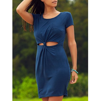Stylish Front Twist Cut Out Women's Bodycon Dress
