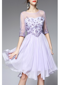 Round Neck Voile Spliced Floral Embroidery Dress
