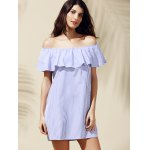 cheap Casual Off-The-Shoulder Striped Flounce Women's Dress