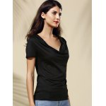 cheap Chic Cowl Neck Solid Color Short Sleeve Women's Tee