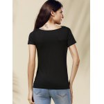 Chic Cowl Neck Solid Color Short Sleeve Women's Tee deal
