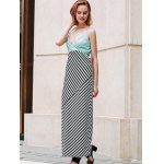 Stylish Halter Striped Color Block Backless Women's Maxi Dress deal