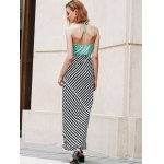 Stylish Halter Striped Color Block Backless Women's Maxi Dress for sale