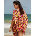 Stylish Women's Plunging Neck Loose Print Cover Up deal