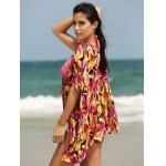 cheap Stylish Women's Plunging Neck Loose Print Cover Up